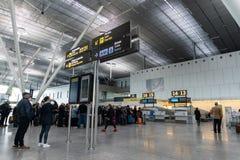 Αερολιμένας του Σαντιάγο de Compostela Εσωτερικό του τερματικού επιβατών στοκ φωτογραφία με δικαίωμα ελεύθερης χρήσης