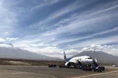 Αερολιμένας Arequipa με το ηφαίστειο Misti στο υπόβαθρο στο Περού Στοκ Εικόνες
