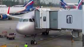 Αεροπλάνα Αεροφλότ στην ποδιά του αερολιμένα Sheremetyevo απόθεμα βίντεο