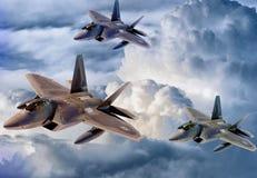 Αεροπλάνα επάνω από τα σύννεφα διανυσματική απεικόνιση