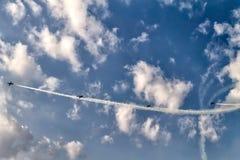 Αεροπλάνα στον ουρανό Στοκ φωτογραφίες με δικαίωμα ελεύθερης χρήσης