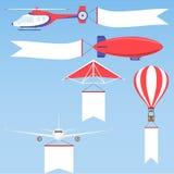 Αεροπλάνο, αεροπλάνα, biplane και ζεστού αέρα μπαλόνι ελεύθερη απεικόνιση δικαιώματος