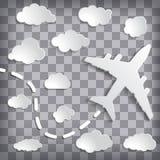 αεροπλάνο εγγράφου με τα σύννεφα στο διαιρεσμένο σε τετράγωνα γκρίζο υπόβαθρο Στοκ Εικόνες