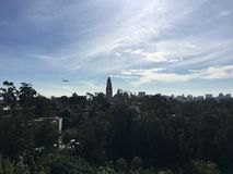 Αεροπλάνο πέρα από το πάρκο Σαν Ντιέγκο BALBOA στοκ εικόνες
