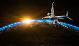 Αεροπλάνο που πετά πέρα από το γήινο πλανήτη Εμπορική έννοια τουρισμού μακρινού διαστήματος πτήσης στοκ εικόνες