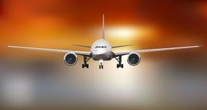 Αεροπλάνο που πετά στη δραματική ελαφριά διανυσματική απεικόνιση ηλιοβασιλέματος στοκ εικόνα