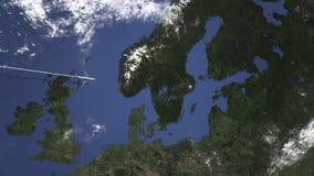 Αεροπλάνο που πετά στη Στοκχόλμη, Σουηδία στο χάρτη Τρισδιάστατη ζωτικότητα εισαγωγής απεικόνιση αποθεμάτων