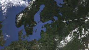 Αεροπλάνο που πετά στη Στοκχόλμη, Σουηδία στο χάρτη, τρισδιάστατη ζωτικότητα διανυσματική απεικόνιση