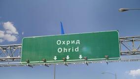 Αεροπλάνο που προσγειώνεται τη Οχρίδα απόθεμα βίντεο