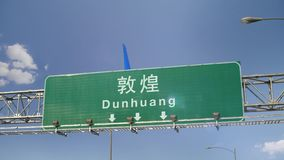Αεροπλάνο που προσγειώνεται Dunhuang απόθεμα βίντεο