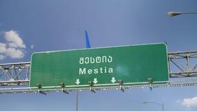 Αεροπλάνο που προσγειώνεται Mestia απόθεμα βίντεο