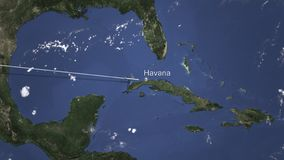 Αεροπλάνο που φθάνει στην Αβάνα, Κούβα από τη δύση, τρισδιάστατη απόδοση διανυσματική απεικόνιση