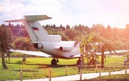 Αεροπλάνο στη ζούγκλα Το αεροπλάνο προσγειώθηκε στην πυκνή βλάστηση Στοκ Εικόνες
