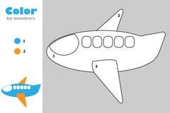 Αεροπλάνο στο ύφος κινούμενων σχεδίων, χρώμα από τον αριθμό, παιχνίδι εγγράφου εκπαίδευσης για την ανάπτυξη των παιδιών, χρωματίζ διανυσματική απεικόνιση