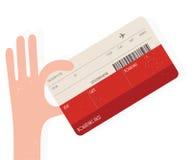 Αεροπορικό εισιτήριο εκμετάλλευσης χεριών Στοκ Φωτογραφίες