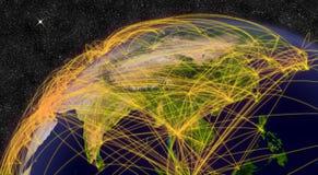 Αεροπορικό ταξίδι στην ανατολική Ασία Στοκ εικόνα με δικαίωμα ελεύθερης χρήσης