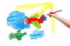 αεροπλάνα αναδρομικά childr σχέδιο Στοκ Φωτογραφίες