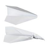 Αεροπλάνα εγγράφου πέρα από άσπρο, χτυπημένο και κανονικό Στοκ Φωτογραφία