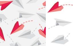 Αεροπλάνα εγγράφου στο άσπρο και άνευ ραφής σχέδιο Στοκ φωτογραφίες με δικαίωμα ελεύθερης χρήσης