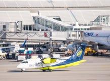 Αεροπλάνα στη θέση χώρων στάθμευσης στο Μόναχο ariport Στοκ φωτογραφία με δικαίωμα ελεύθερης χρήσης