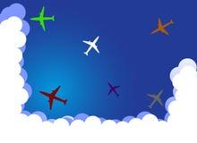 Αεροπλάνα στο χρώμα και τα σύννεφα Στοκ Εικόνες