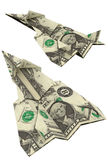 Αεροπλάνα origami εγγράφου που γίνονται από τα χρήματα δολαρίων Στοκ φωτογραφίες με δικαίωμα ελεύθερης χρήσης