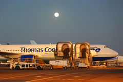 Αεροπλάνο αερογραμμών του Thomas Cook στο διεθνή αερολιμένα Punta Cana Στοκ Φωτογραφίες