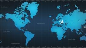 Αεροπλάνο γύρω από τον παγκόσμιο χάρτη γύρος 1 διανυσματική απεικόνιση