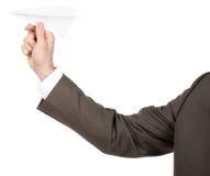 Αεροπλάνο εγγράφου εκμετάλλευσης χεριών Businessmans Στοκ εικόνες με δικαίωμα ελεύθερης χρήσης