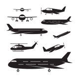 Αεροπλάνο, ελαφρύ αεριωθούμενο σύνολο σκιαγραφιών αντικειμένων απεικόνιση αποθεμάτων