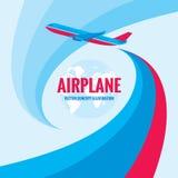 Αεροπλάνο - διανυσματική απεικόνιση έννοιας με το αφηρημένο υπόβαθρο Απεικόνιση σκιαγραφιών αεροπλάνων Στοκ Εικόνες