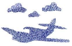 Αεροπλάνο μεταξύ των σύννεφων Στοκ Φωτογραφίες