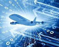 Αεροπλάνο με το υπόβαθρο των αριθμών και των βελών Στοκ φωτογραφίες με δικαίωμα ελεύθερης χρήσης