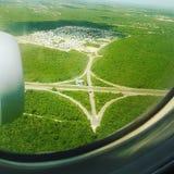 Αεροπλάνο πέρα από τη Δομινικανή Δημοκρατία Στοκ Φωτογραφίες