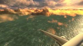 Αεροπλάνο πέρα από το μήκος σε πόδηα θάλασσας απόθεμα βίντεο