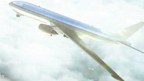 Αεροπλάνο πέρα από το ψηφιακό jeddah από το φωτεινό ουρανό απόθεμα βίντεο