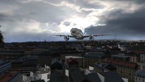 Αεροπλάνο που πετά πέρα από την τρισδιάστατη πόλη φιλμ μικρού μήκους