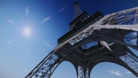 Αεροπλάνο που πετά πέρα από το βίντεο πύργων του Άιφελ απόθεμα βίντεο
