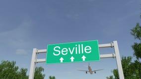 Αεροπλάνο που φθάνει στον αερολιμένα της Σεβίλης που ταξιδεύει στην Ισπανία διανυσματική απεικόνιση