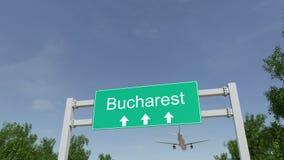 Αεροπλάνο που φθάνει στον αερολιμένα του Βουκουρεστι'ου Ταξίδι στην εννοιολογική 4K ζωτικότητα της Ρουμανίας ελεύθερη απεικόνιση δικαιώματος