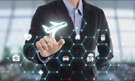 Αεροπλάνο προστασίας κουμπιών συμπίεσης χεριών πρακτόρων επιχειρησιακών πωλητών Στοκ Εικόνα