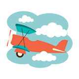Αεροπλάνο στα σύννεφα Στοκ Εικόνα