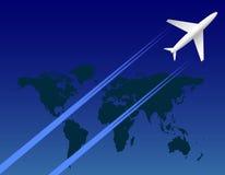 Αεροπλάνο στον ουρανό και το χάρτη Στοκ Εικόνες