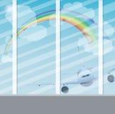 Αεροπλάνο στον ουρανό με τον ήλιο, τα σύννεφα και το ουράνιο τόξο Στοκ φωτογραφία με δικαίωμα ελεύθερης χρήσης