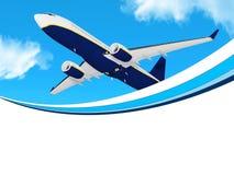 Αεροπλάνο στο πλαίσιο μπλε ουρανού Στοκ Φωτογραφία