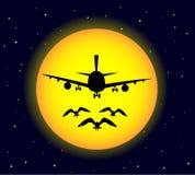 Αεροπλάνο τη νύχτα Στοκ φωτογραφίες με δικαίωμα ελεύθερης χρήσης