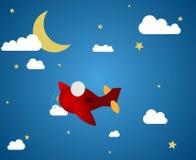 Αεροπλάνο τη νύχτα Στοκ εικόνες με δικαίωμα ελεύθερης χρήσης