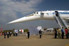 Αεροπλάνο TU-144 στο διεθνές αεροδιαστημικό σαλόνι MAKS Στοκ Εικόνες