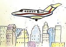Αεροπλάνο Watercolor πέρα από το Ώστιν Στοκ φωτογραφία με δικαίωμα ελεύθερης χρήσης