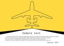 Αεροσκάφη Διανυσματικό σκίτσο της συνεχούς γραμμής αεροπλάνων στο κίτρινο υπόβαθρο με το διάστημα για το κείμενο Έμβλημα προτύπων διανυσματική απεικόνιση
